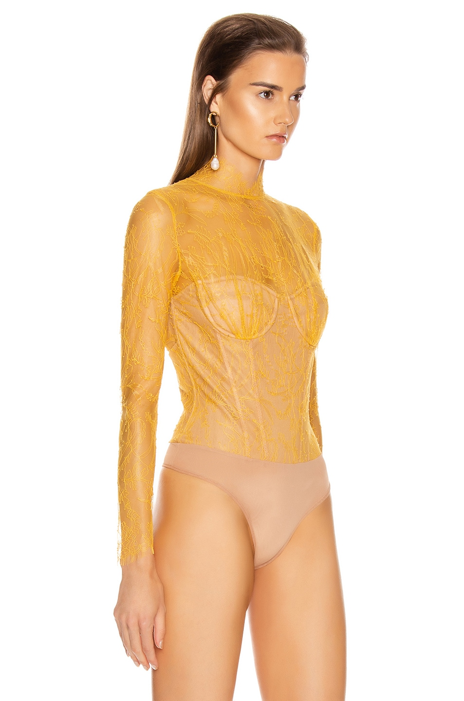 Image 3 of JONATHAN SIMKHAI Lace Long Sleeve Bodysuit in Marigold