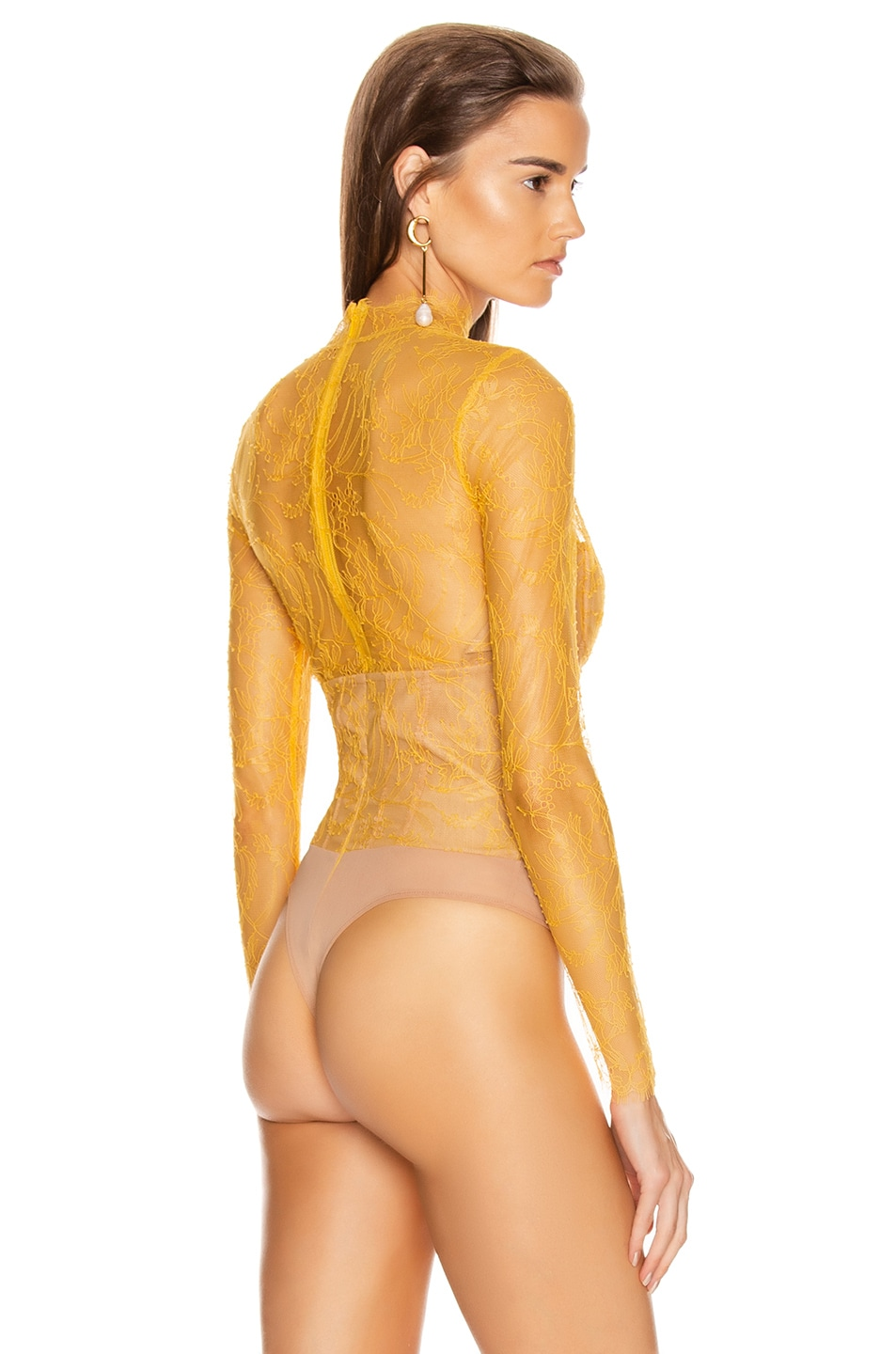 Image 4 of JONATHAN SIMKHAI Lace Long Sleeve Bodysuit in Marigold