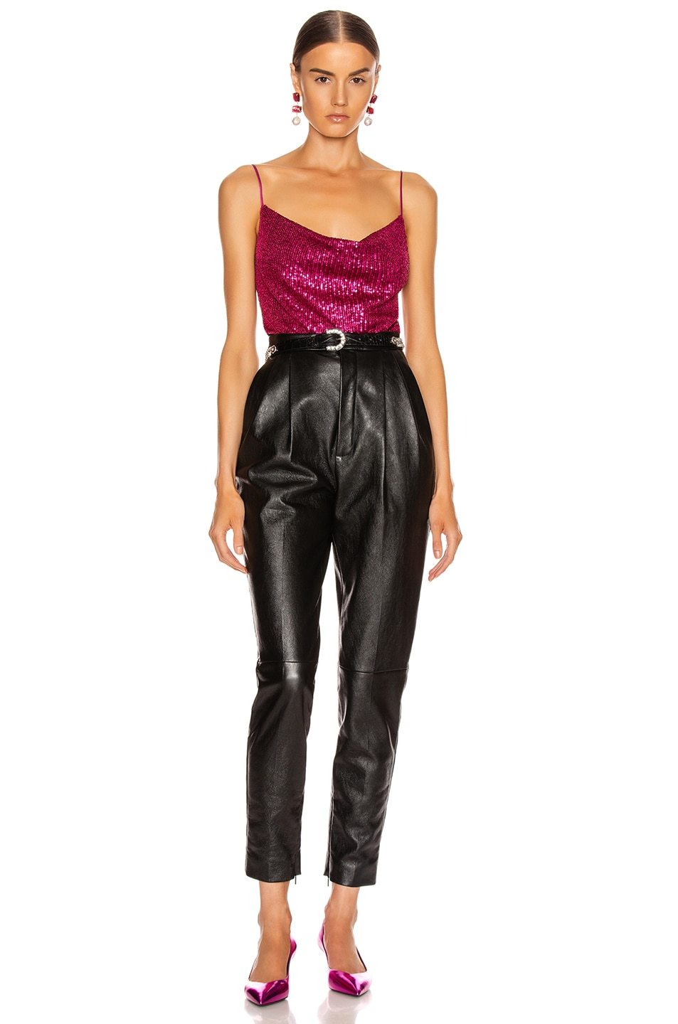 Image 4 of JONATHAN SIMKHAI Sequin Cowl Neck Cami in Magenta