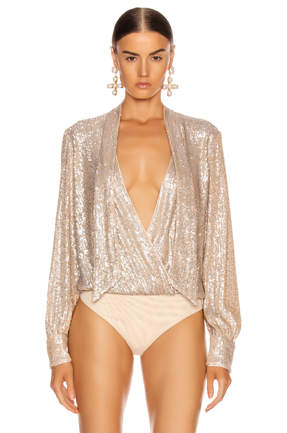 Image 2 of JONATHAN SIMKHAI Sequin Cross Front Bodysuit in Champagne