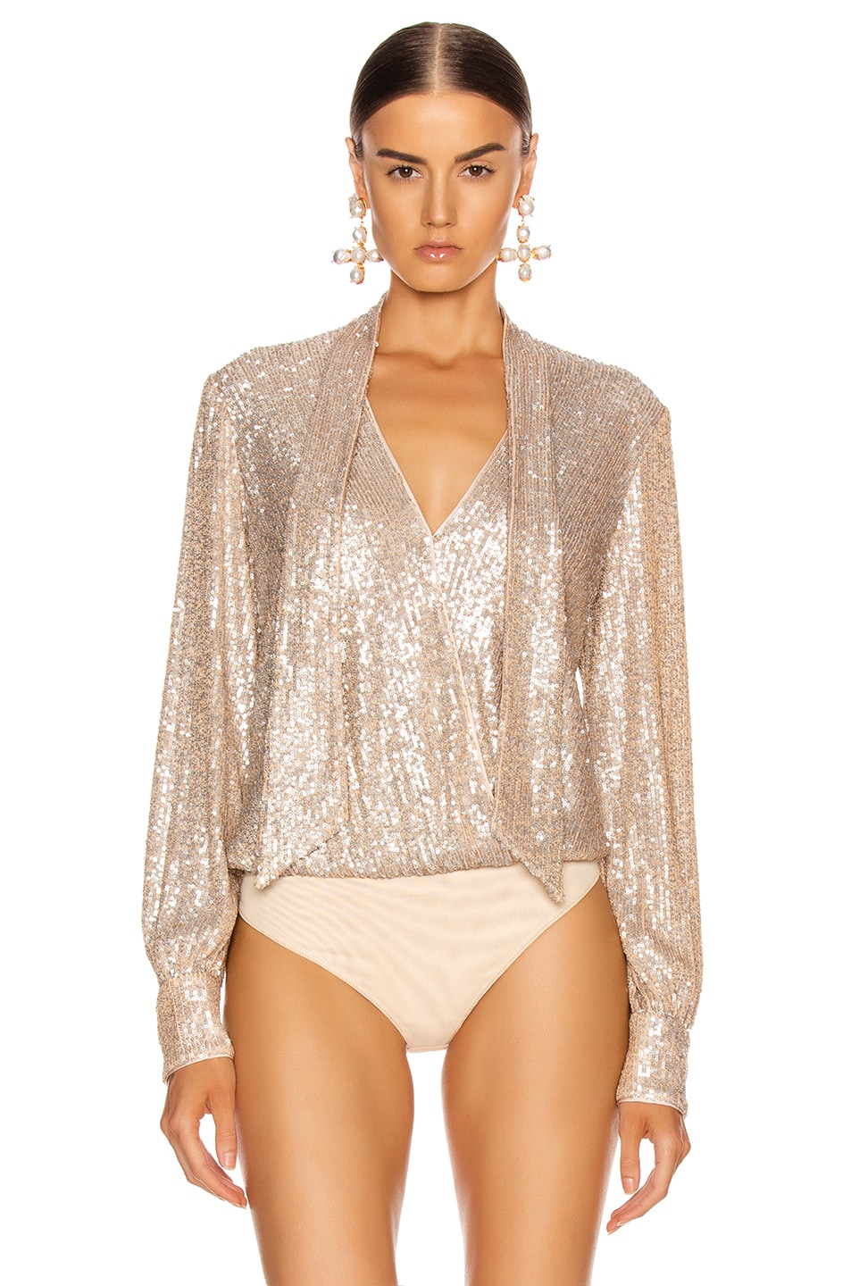 Image 3 of JONATHAN SIMKHAI Sequin Cross Front Bodysuit in Champagne