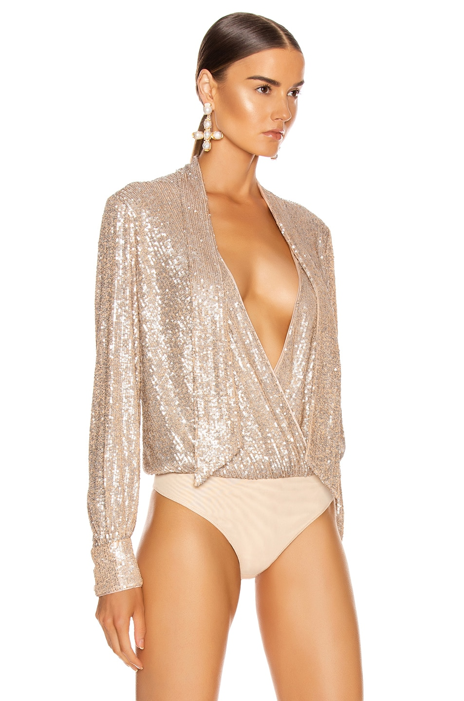 Image 4 of JONATHAN SIMKHAI Sequin Cross Front Bodysuit in Champagne