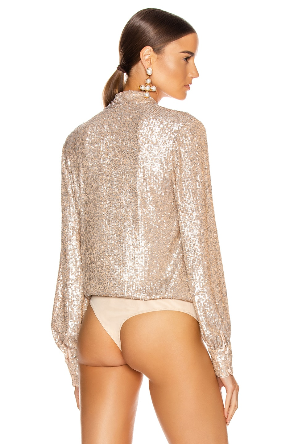 Image 5 of JONATHAN SIMKHAI Sequin Cross Front Bodysuit in Champagne