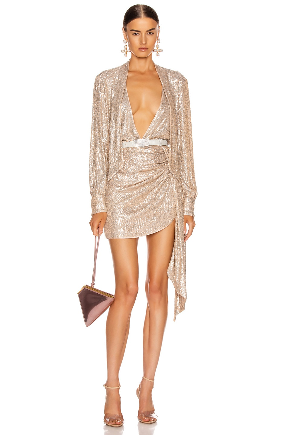 Image 6 of JONATHAN SIMKHAI Sequin Cross Front Bodysuit in Champagne
