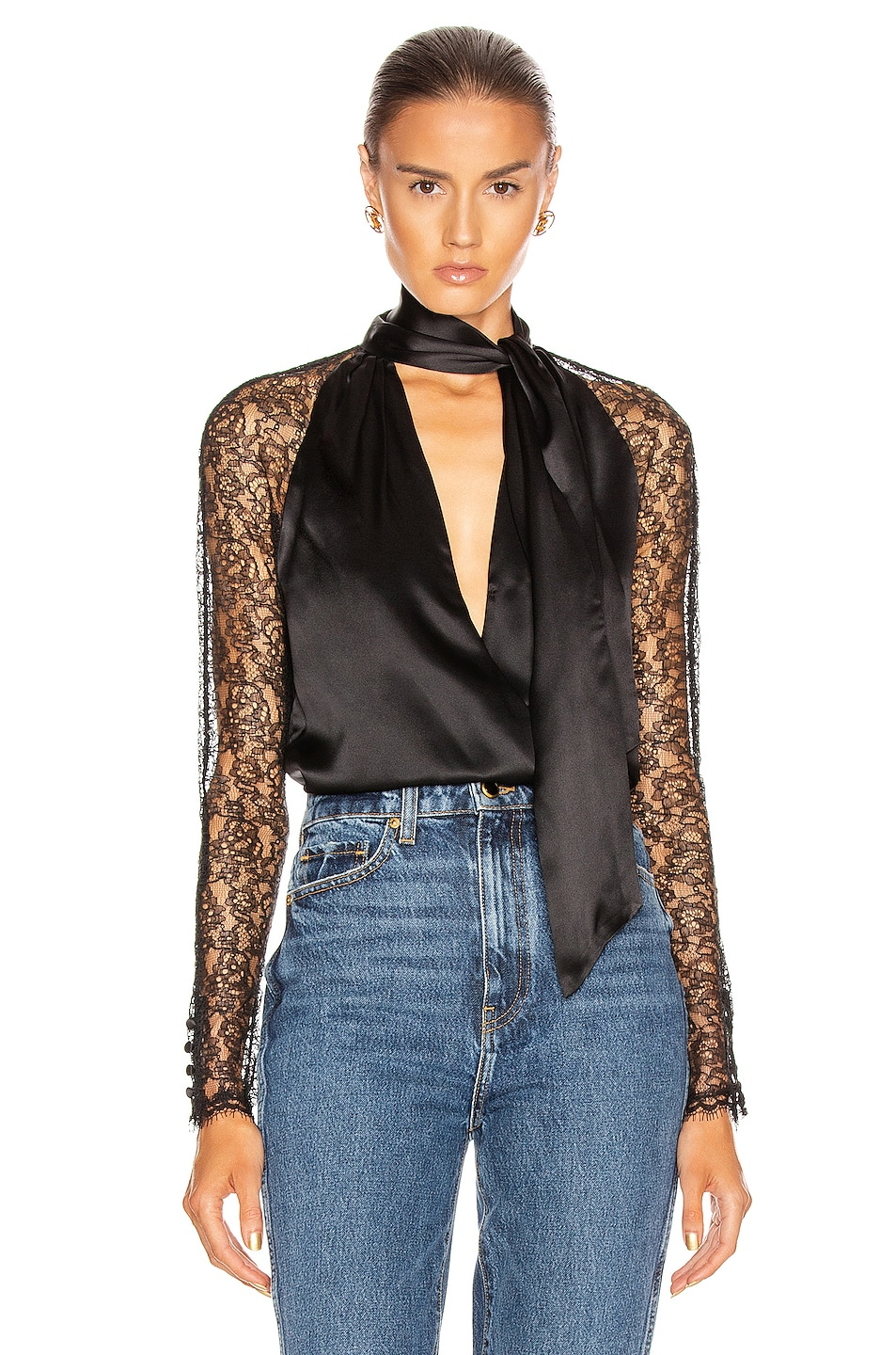 Image 1 of JONATHAN SIMKHAI Lace Wrap Top in Black