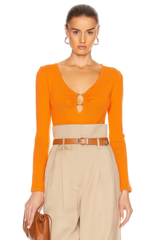 Image 1 of JONATHAN SIMKHAI Long Sleeve Bodysuit in Tangerine