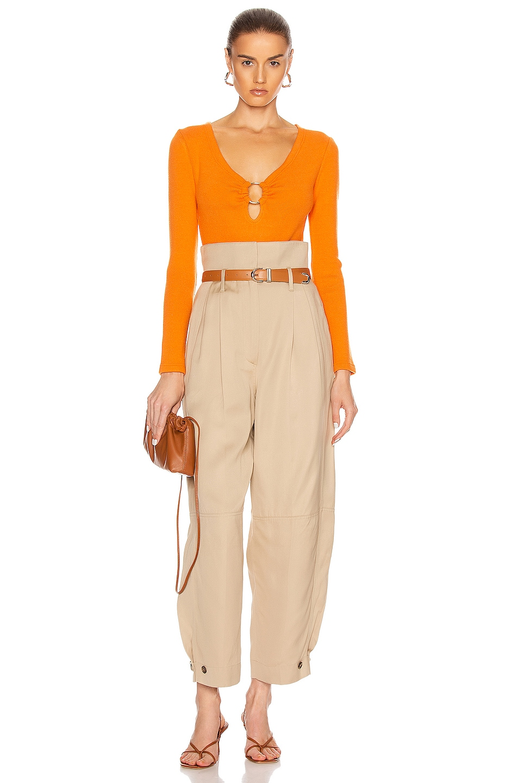 Image 5 of JONATHAN SIMKHAI Long Sleeve Bodysuit in Tangerine