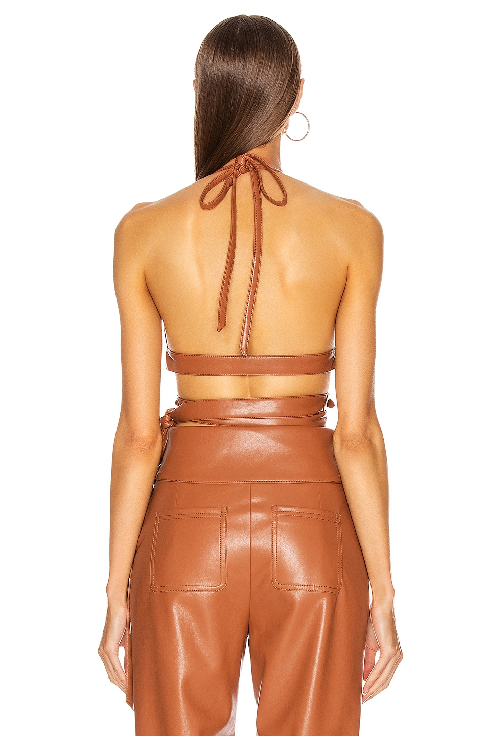 Image 3 of JONATHAN SIMKHAI Vegan Leather Strappy Bralette in Tobacco