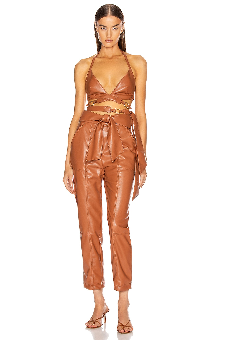 Image 4 of JONATHAN SIMKHAI Vegan Leather Strappy Bralette in Tobacco