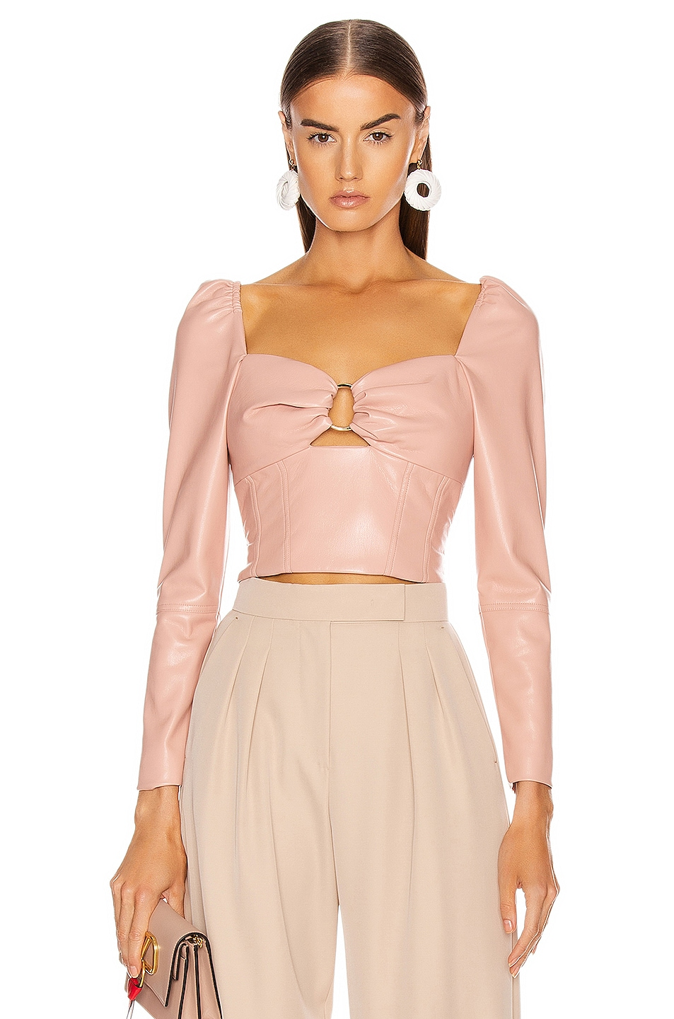 Image 1 of JONATHAN SIMKHAI Vegan Leather Pleated Top in Afterglow