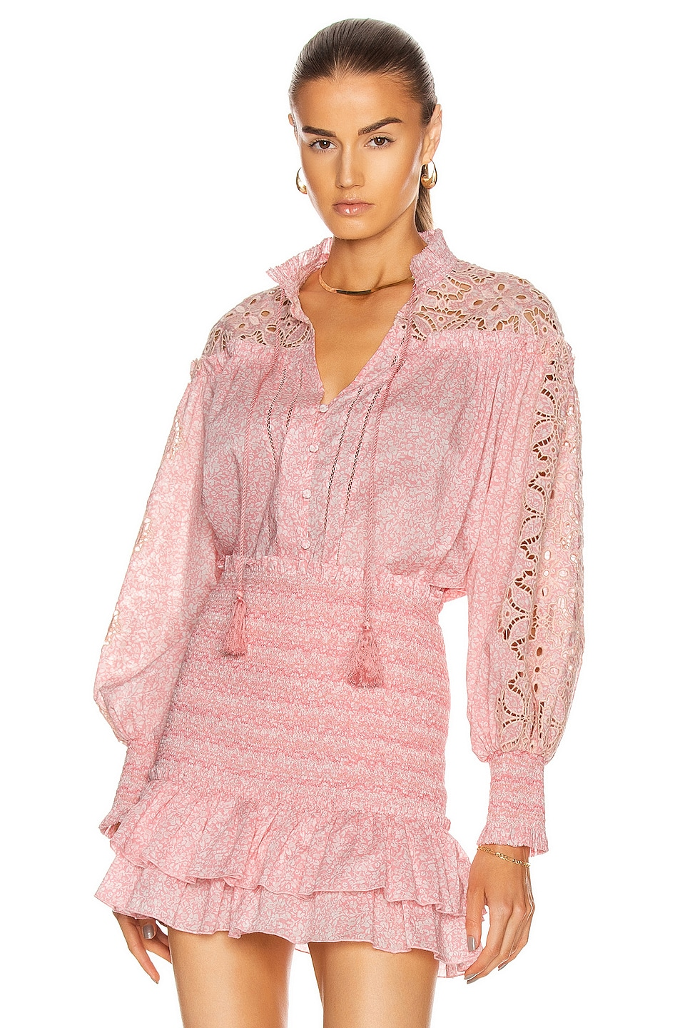 Image 1 of JONATHAN SIMKHAI Brianne Floral Top in Blush