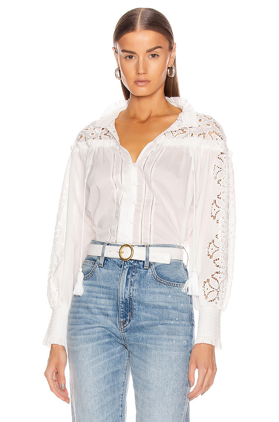 Image 1 of JONATHAN SIMKHAI Brianne Floral Top in White