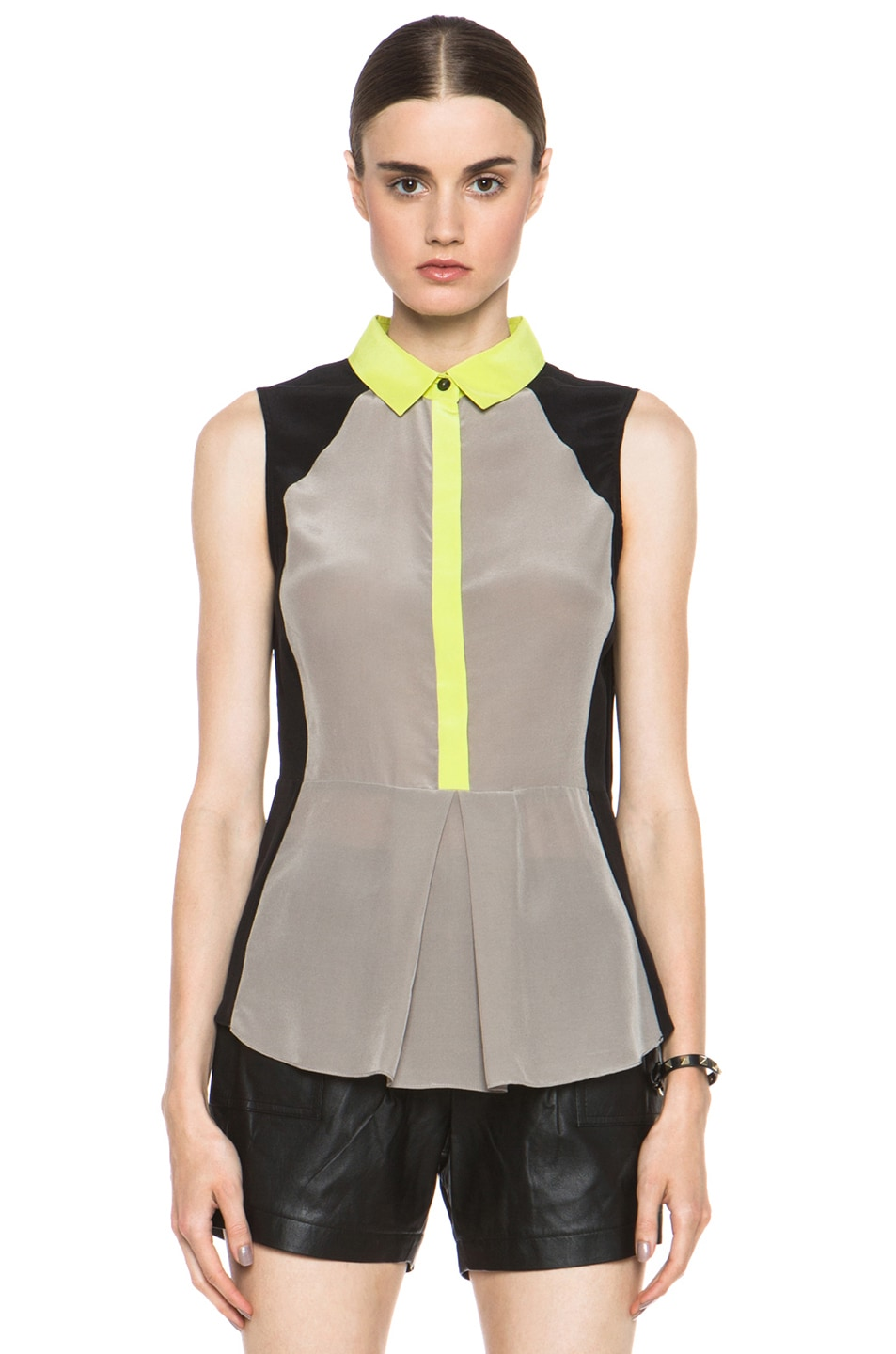 Image 1 of JONATHAN SIMKHAI Sheer Panel Blouse in Sand & Chartreuse & Black