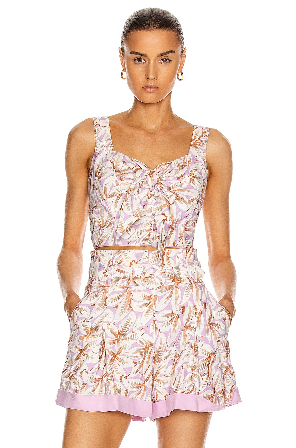 Image 1 of JONATHAN SIMKHAI Layla Top in Lilac Print