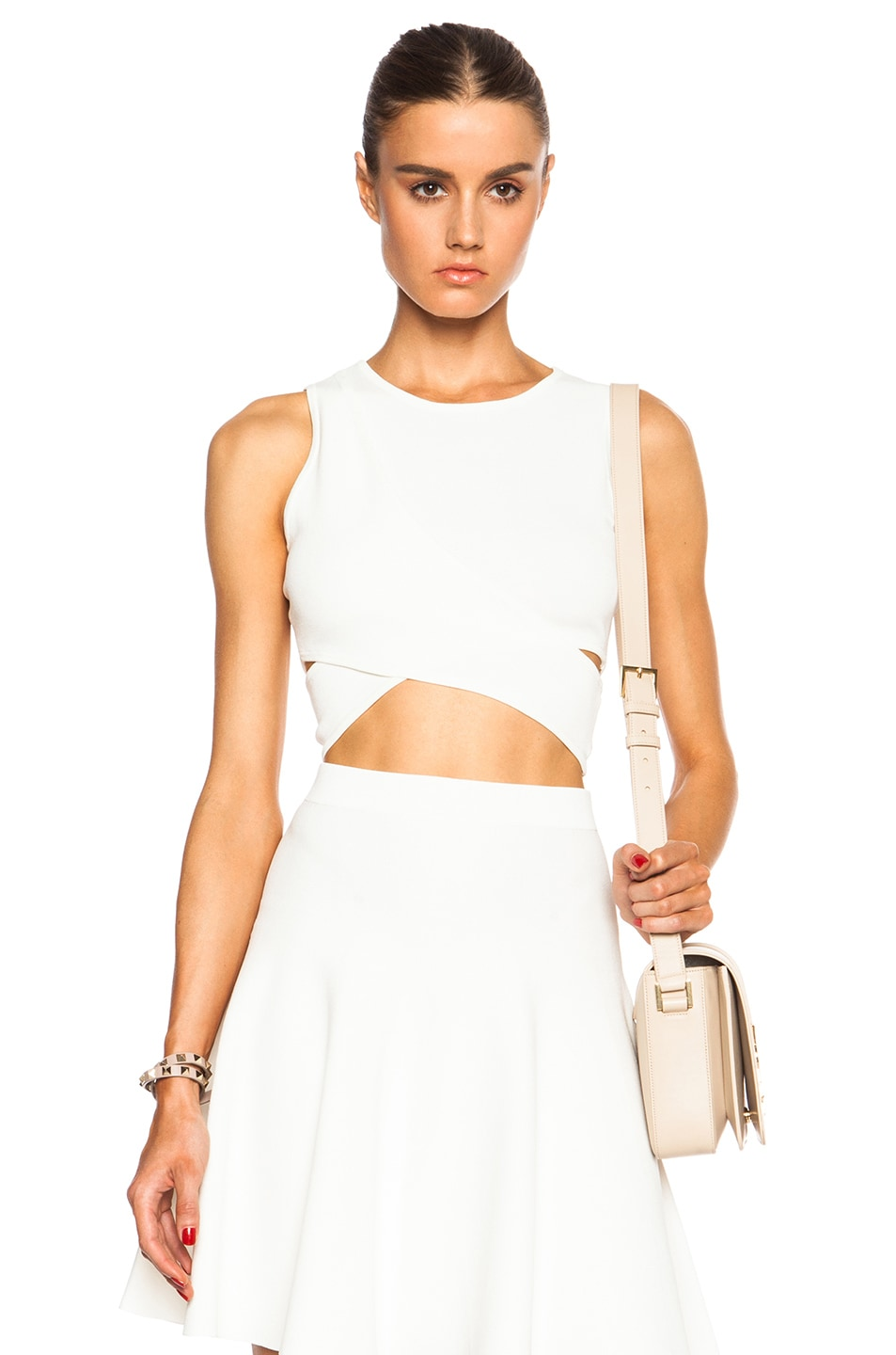 Image 1 of JONATHAN SIMKHAI Crossover Crop Top in Ivory