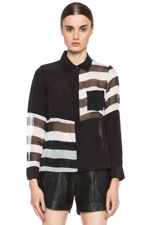 Image 1 of JONATHAN SIMKHAI Stripe Blocked Blouse in Black & White
