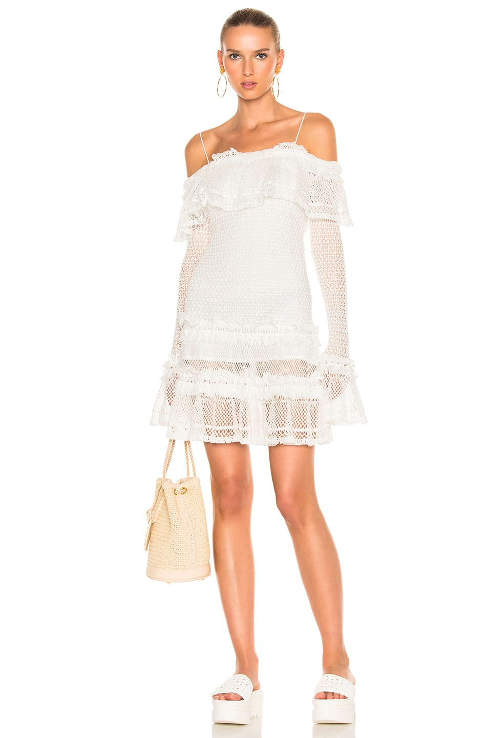 Image 1 of JONATHAN SIMKHAI Ruffle Crochet Long Sleeve Mini Dress in White