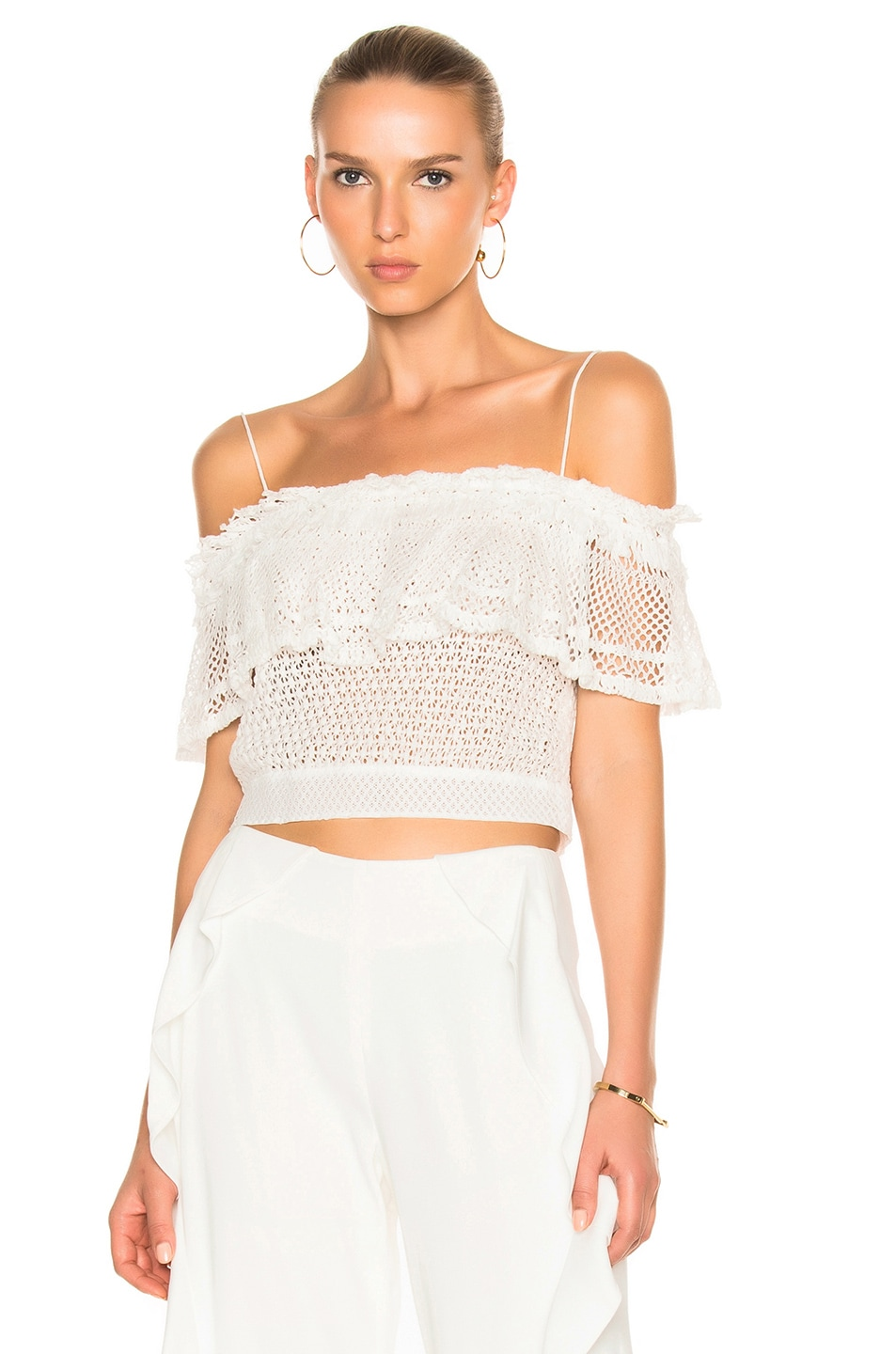 Image 1 of JONATHAN SIMKHAI Ruffle Crochet Off Shoulder Crop Top in White