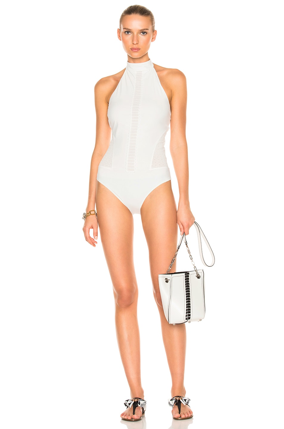 Image 1 of JONATHAN SIMKHAI Halter Lace Swimsuit in Ivory