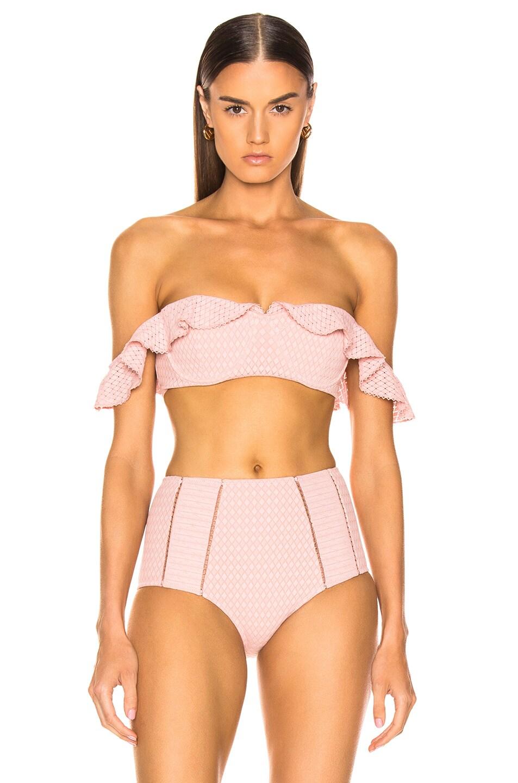 Image 2 of JONATHAN SIMKHAI Lace Ruffle Cold Shoulder Bikini Top in Rose