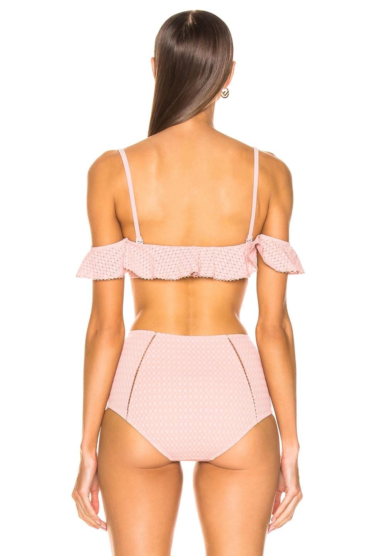 Image 4 of JONATHAN SIMKHAI Lace Ruffle Cold Shoulder Bikini Top in Rose