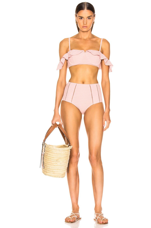 Image 5 of JONATHAN SIMKHAI Lace Ruffle Cold Shoulder Bikini Top in Rose