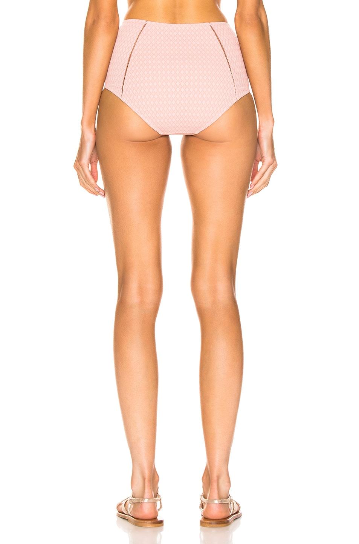 Image 3 of JONATHAN SIMKHAI Lace Insert High Waisted Bikini Bottom in Rose