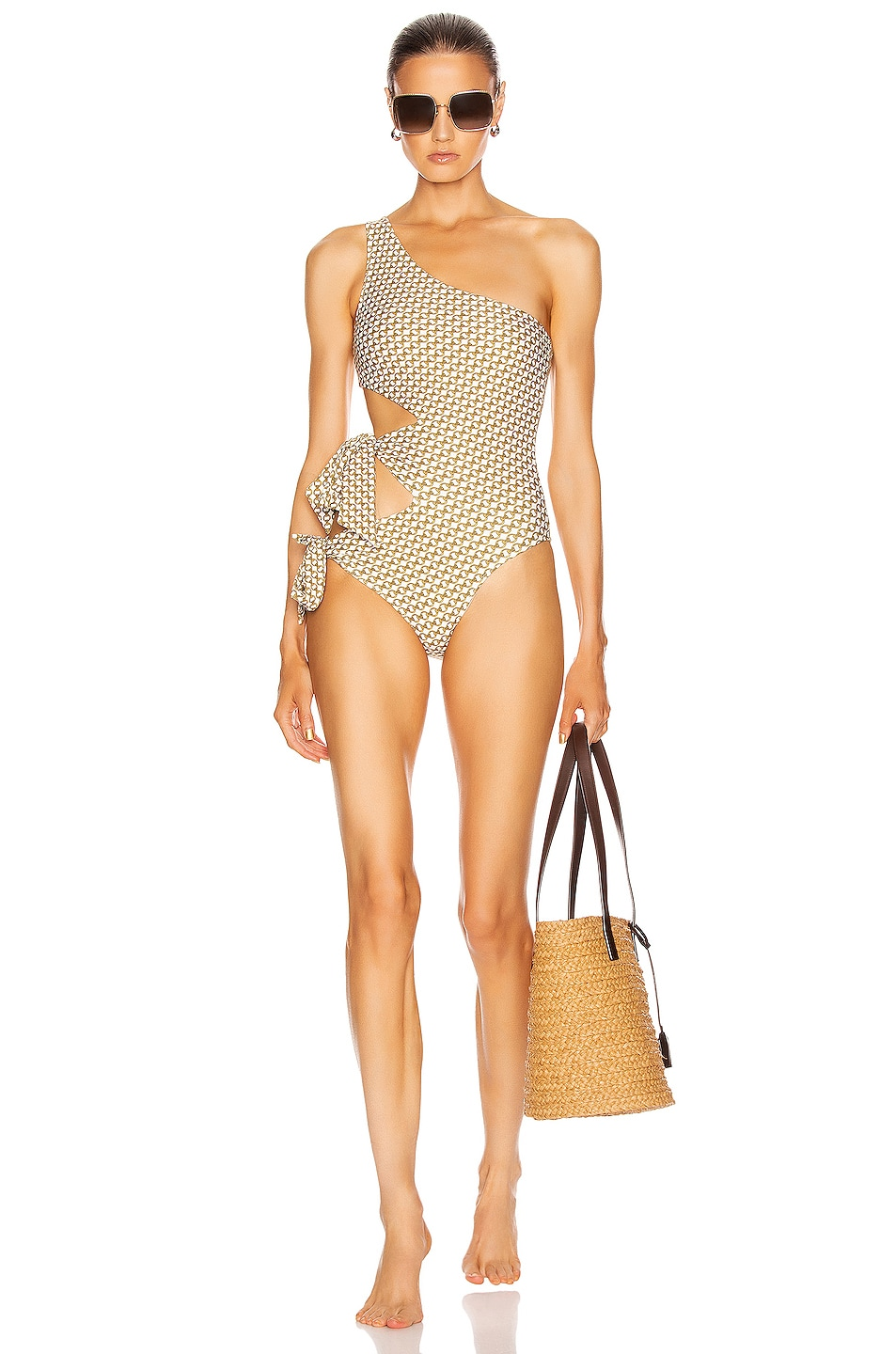 Image 1 of JONATHAN SIMKHAI Chain Print Cutout Swimsuit in White Combo