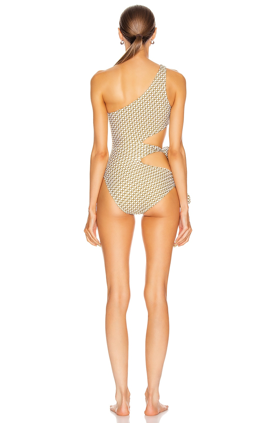Image 4 of JONATHAN SIMKHAI Chain Print Cutout Swimsuit in White Combo