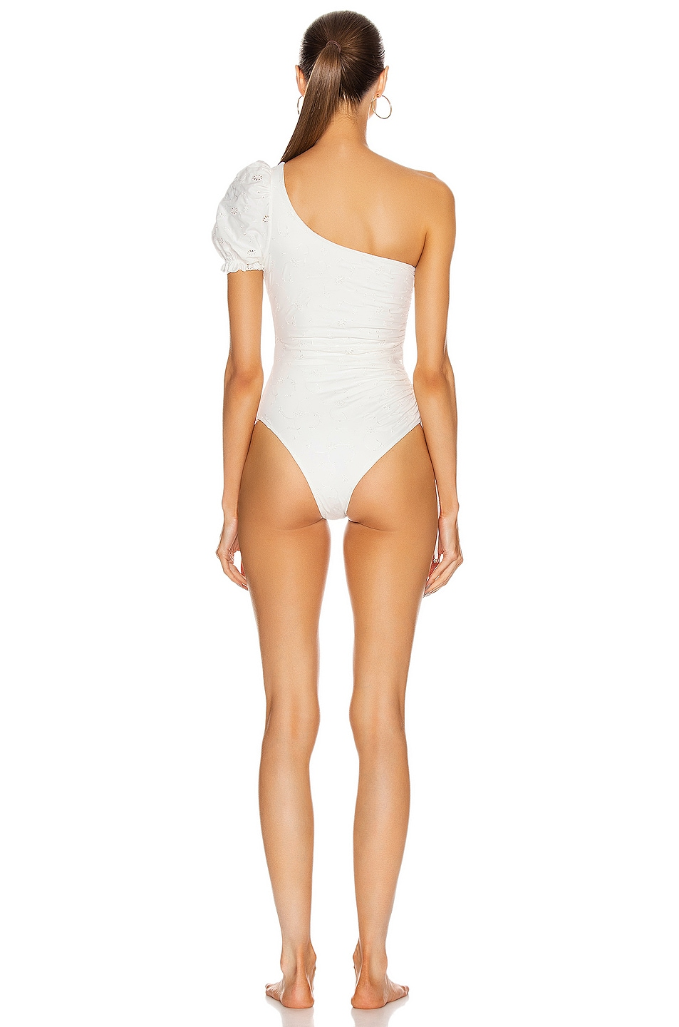 Image 4 of JONATHAN SIMKHAI Darya Embellished Eyelet Swimsuit in White