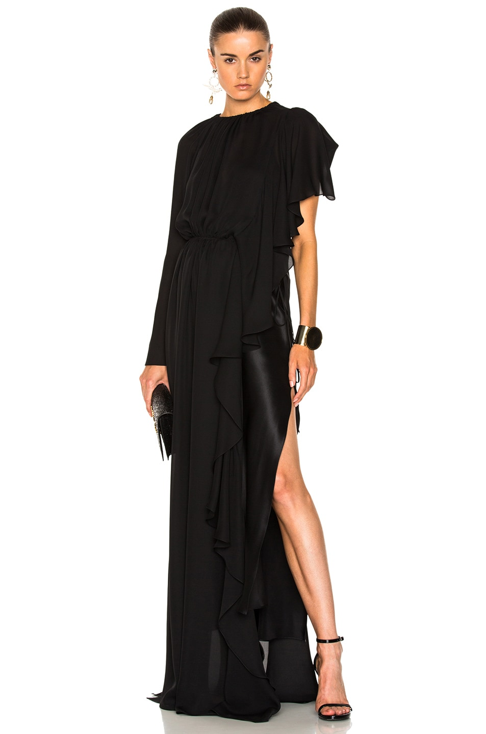 Image 1 of Juan Carlos Obando Asymmetrical Gathered Ruffle Gown in Onyx
