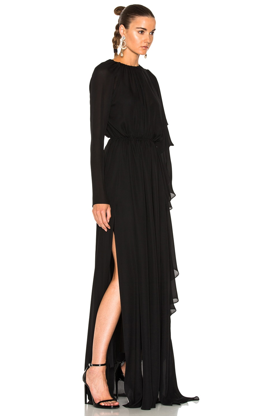 juan carlos obando asymmetrical gathered ruffle gown in onyx modesens. Black Bedroom Furniture Sets. Home Design Ideas