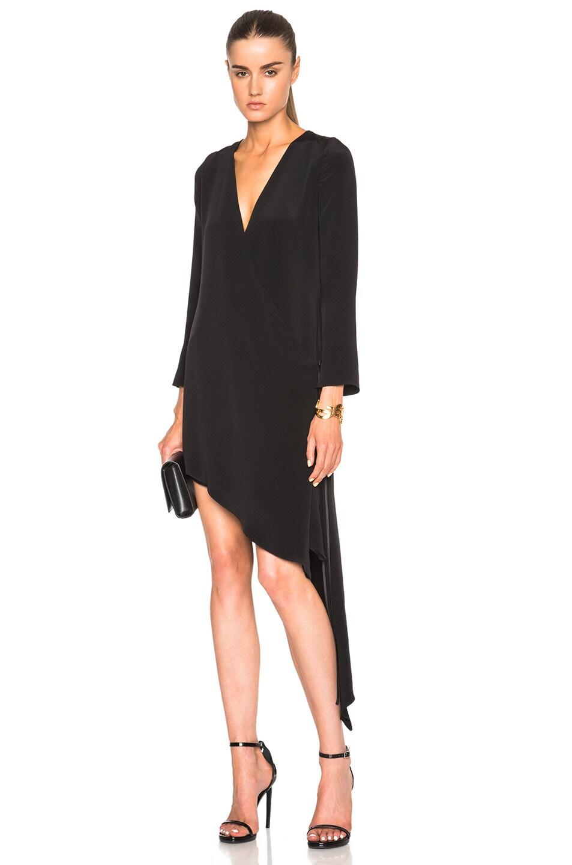 Image 1 of Juan Carlos Obando FWRD Exclusive Wrap Dress in Onyx Black