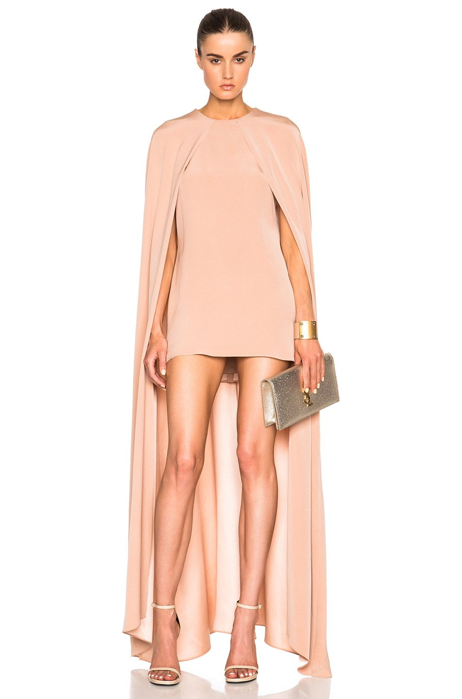 Image 1 of Juan Carlos Obando FWRD Exclusive Cape Dress in Blush