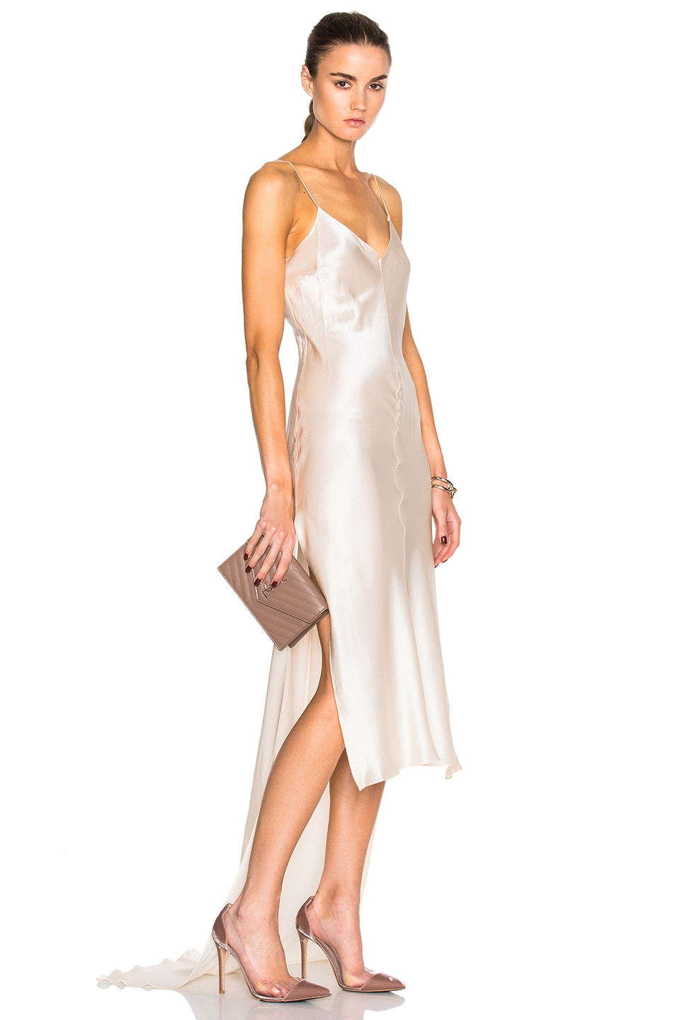 Image 1 of Juan Carlos Obando Flora Charmeuse Slip Dress in Cream
