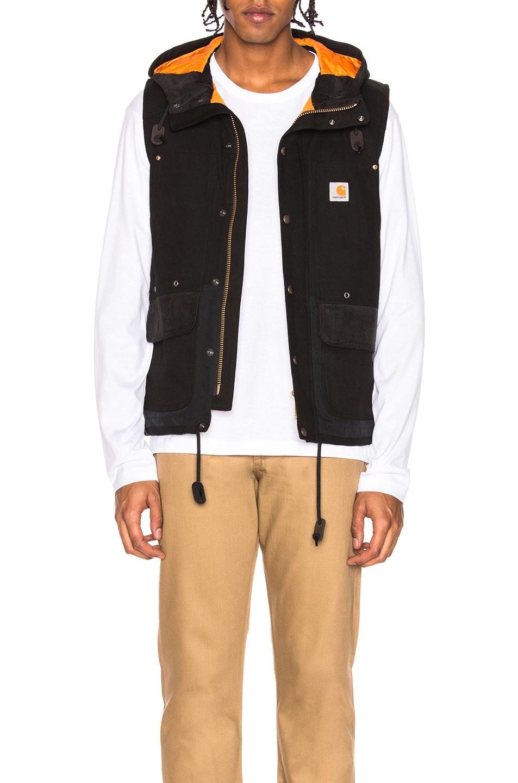JUNYA WATANABE Canvas Hooded Vest, Black