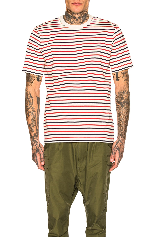 35a6ee2c0f Image 1 of Junya Watanabe Horizontal Stripe Tee in Natural & Red & Navy
