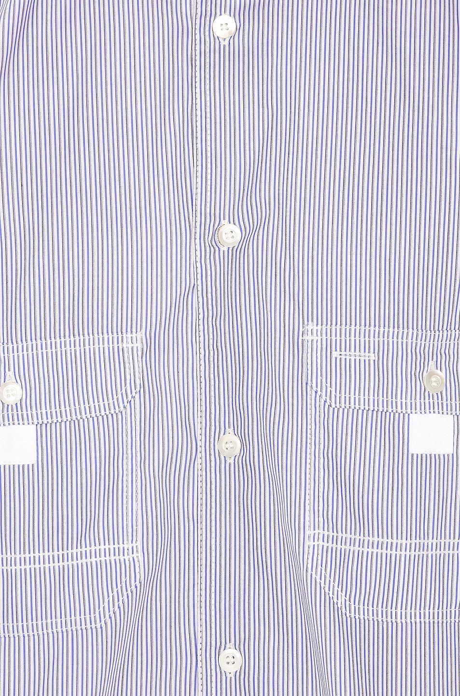 Junya Watanabe Ribstop Print Long Sleeve Shirt White & Blue & Navy & Khaki on sale