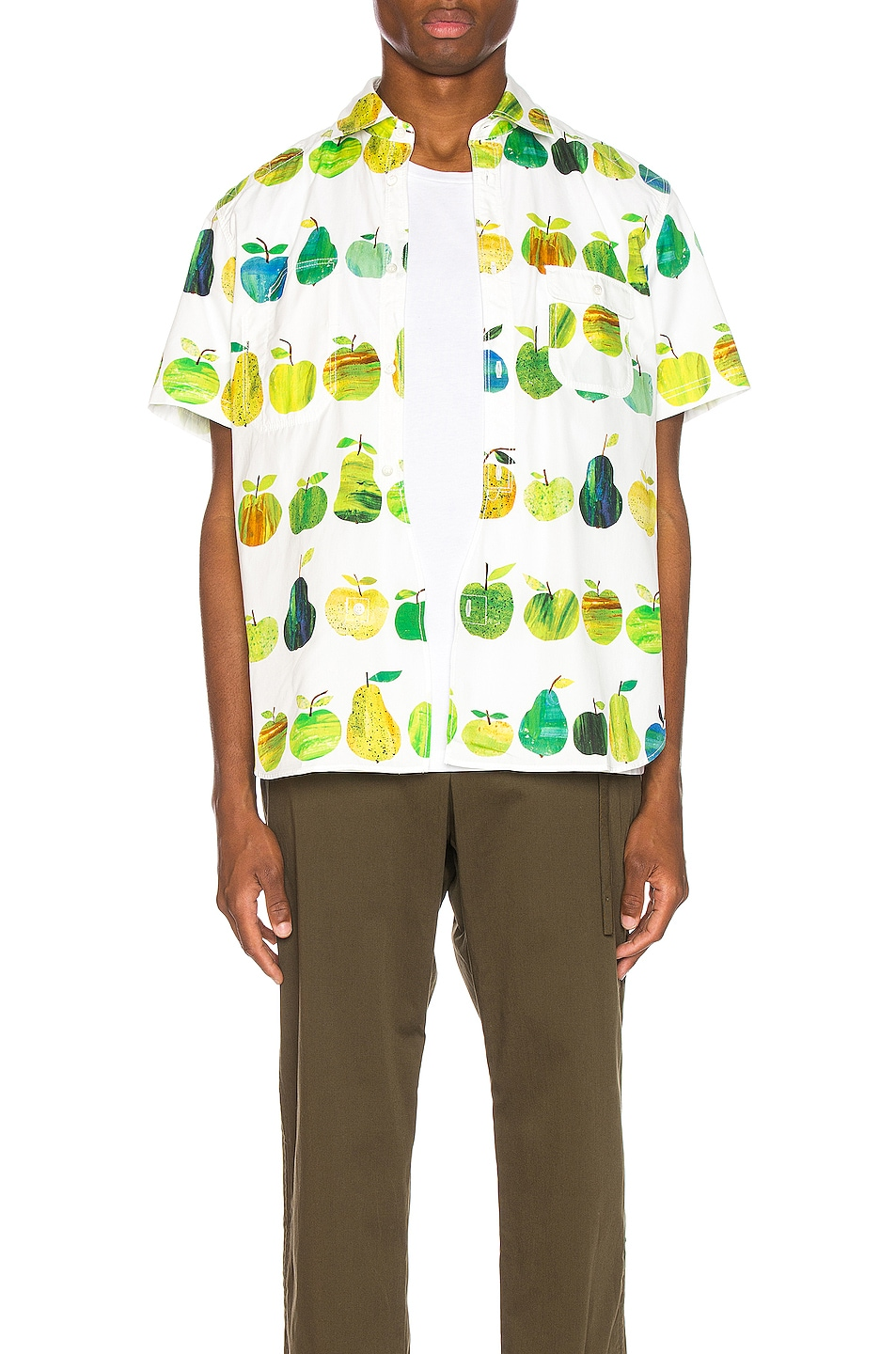 Image 1 of Junya Watanabe Print Pocket Shirt in White & Green