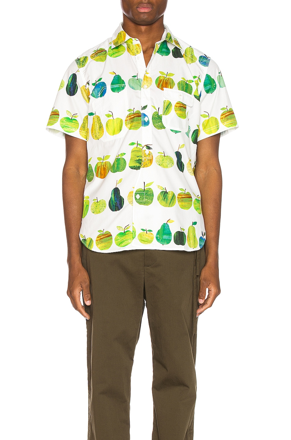 Image 2 of Junya Watanabe Print Pocket Shirt in White & Green