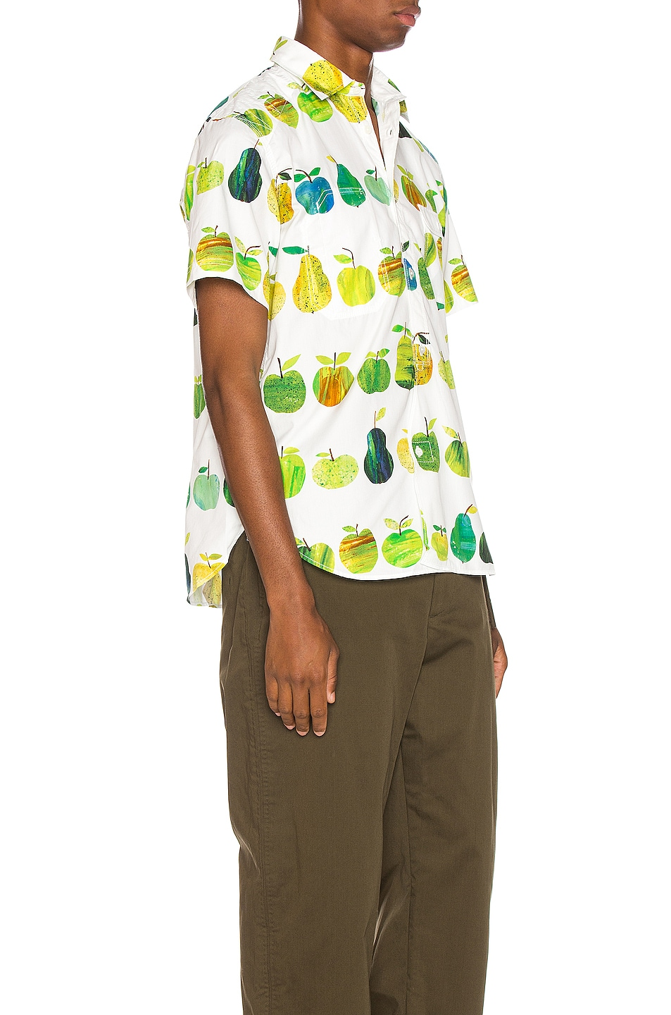 Image 3 of Junya Watanabe Print Pocket Shirt in White & Green