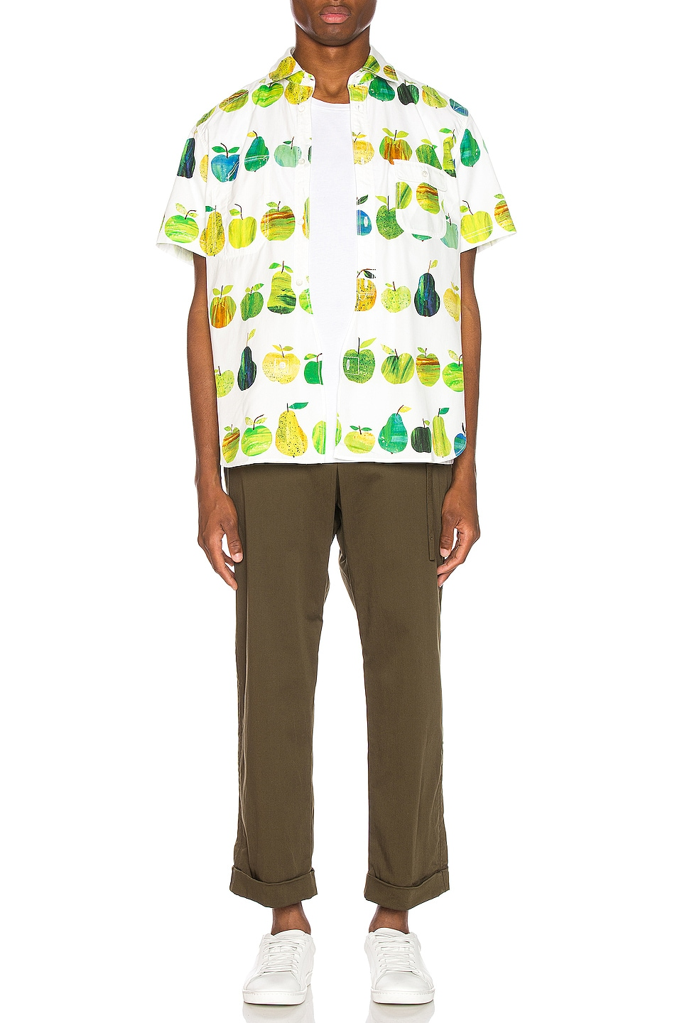 Image 5 of Junya Watanabe Print Pocket Shirt in White & Green
