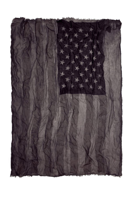 Image 1 of John Varvatos Antique Printed Flag Scarf in Black