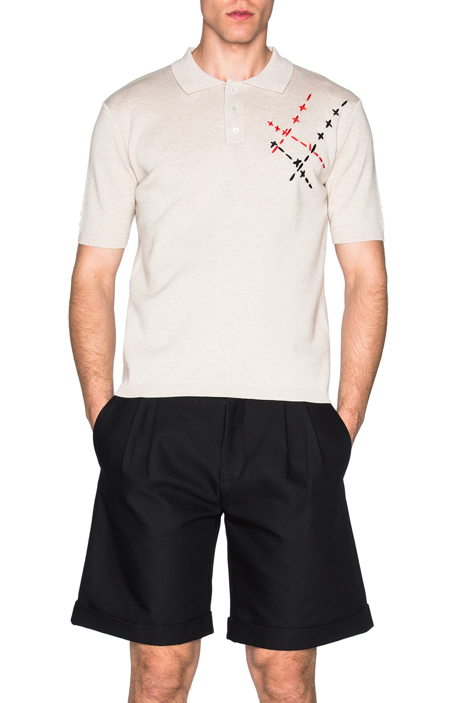 Image 1 of JW Anderson Hand Stitch Embroidery Polo in Beige