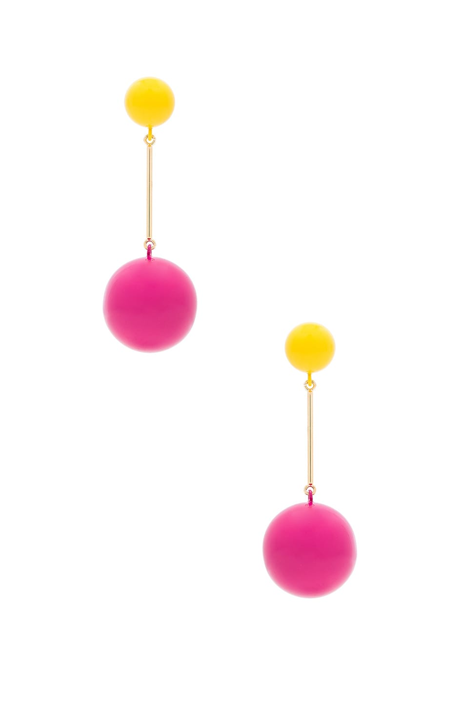 Image 1 of JW Anderson Sphere Drop Earring in Yellow & Hot Pink