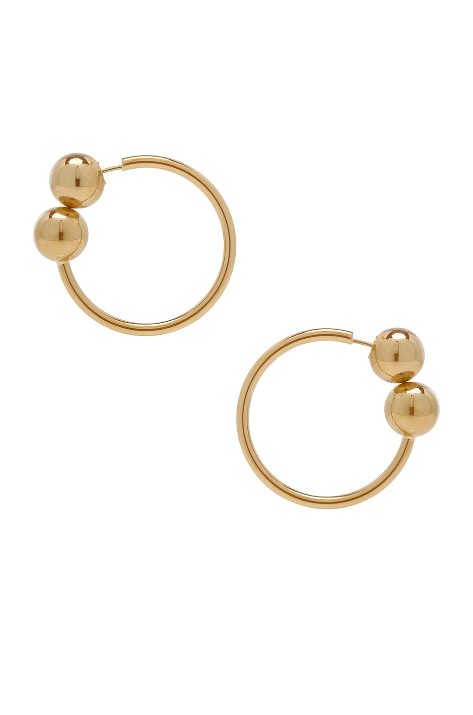 Image 1 of JW Anderson Double Ball Hoop Earrings in Gold