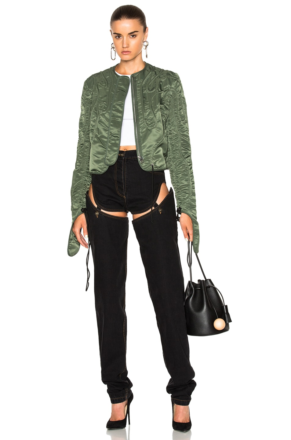 Image 1 of JW Anderson Cropped Corded Jacket in Military Green