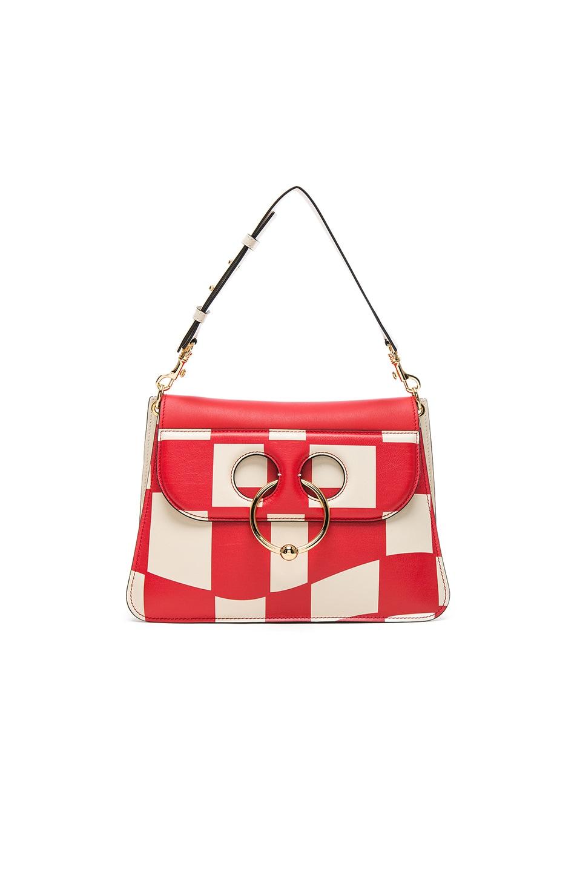 Image 1 of JW Anderson Checkboard Print Medium Pierce Bag in Cream