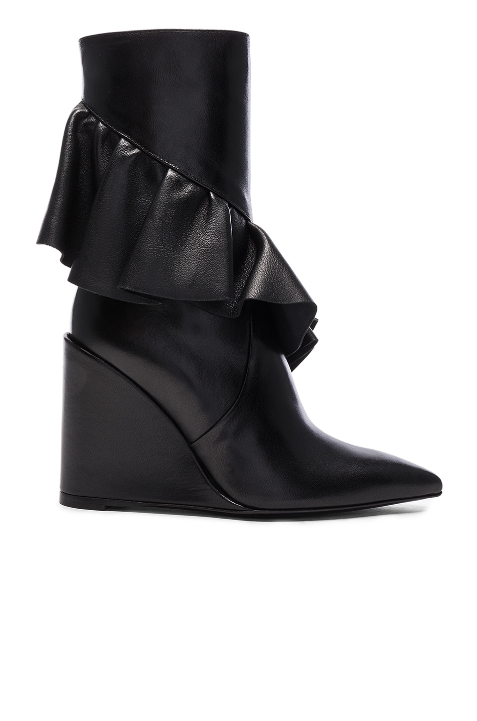 Image 1 of JW Anderson Mid Calf Leather Ruffle Boots in Black