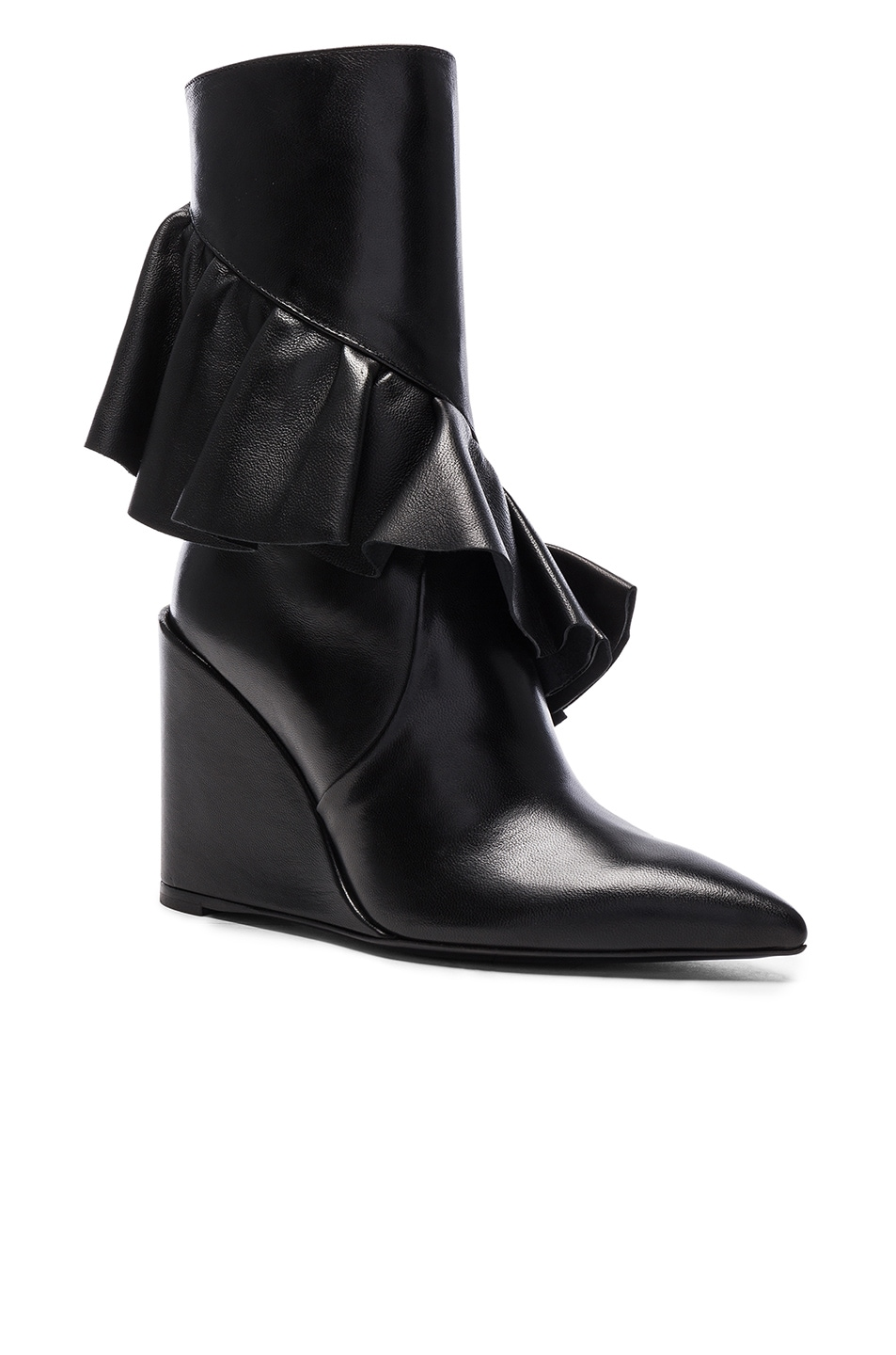 Image 2 of J.W. Anderson Mid Calf Leather Ruffle Boots in Black